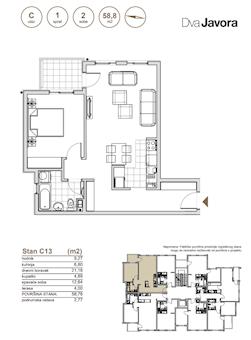 2 tip nekretnine - 58,78 m² - Dva javora