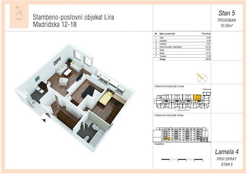 3 tip nekretnine - 70,35 m² - Lira-Zvezdara
