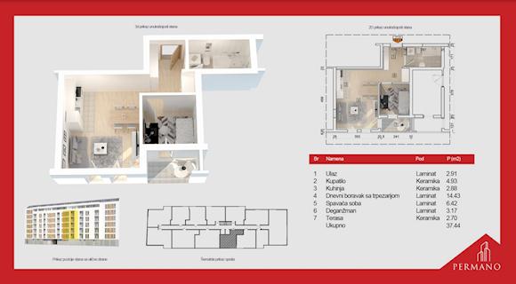 1 tip nekretnine - 37,44 m² - Permano I - Kornelija Stankovića 44