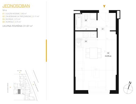 1 tip nekretnine - 31,97 m² - East Side