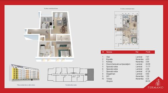 4 tip nekretnine - 88,33 m² - Permano I - Kornelija Stankovića 44
