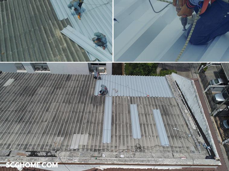 หลังคารั่ว ซ่อมหลังคารั่ว ทาวน์เฮาส์ อุดรอยรั่วหลังคา หลังคารั่วซึม หลังคาบ้านรั่ว แก้ปัญหาหลังคารั่ว ซ่อมหลังคารั่วscg Top Up Roof