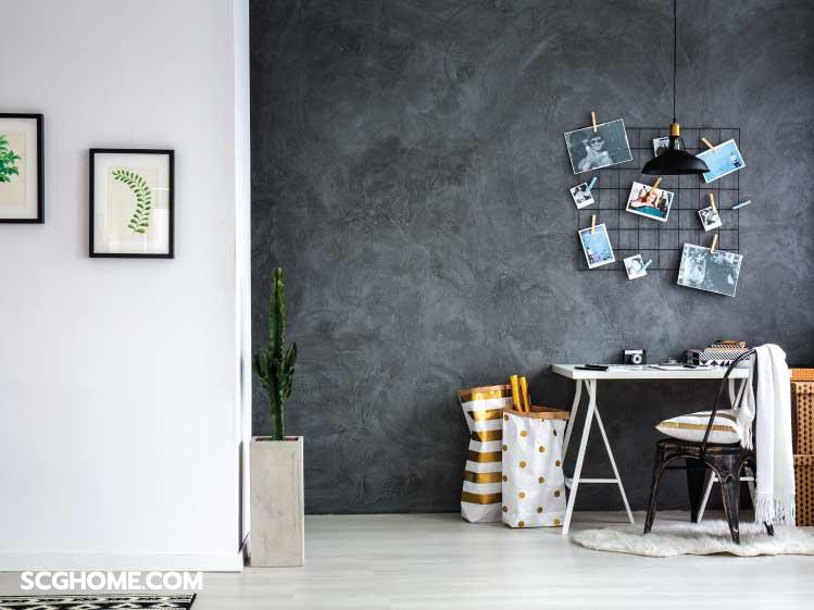 ห้องสีขาว-พื้นที่นั่งทำงานด้วยสีเทาเข้ม