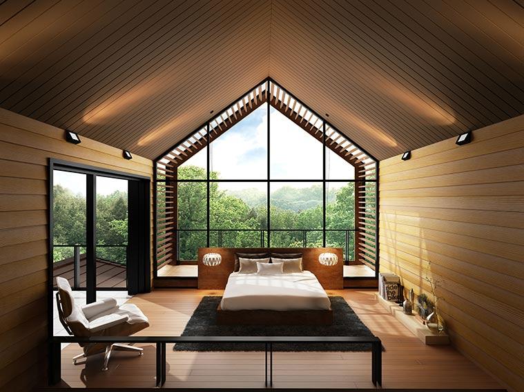 ห้องนอนแนวบ้านไม้ลุคธรรมชาติ ผสานกลิ่นอายโมเดิร์น