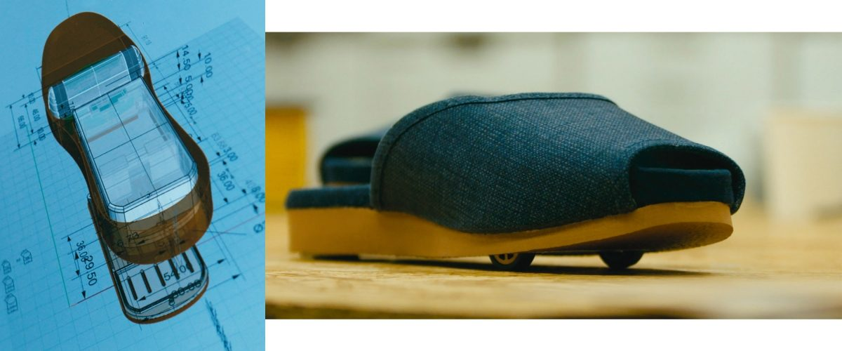Technical drawing and close up of self-parking slipper
