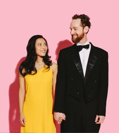 Couple in dress and tuxedo