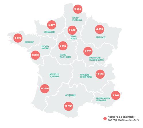 Carte des chantiers PES sur toute la France
