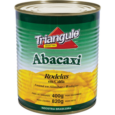 Abacaxi em calda rodelas lata 400g Triangulo UN