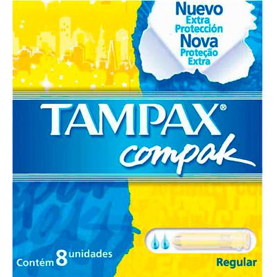 Absorvente interno regular 8 unidades Tampax Compak pacote PCT