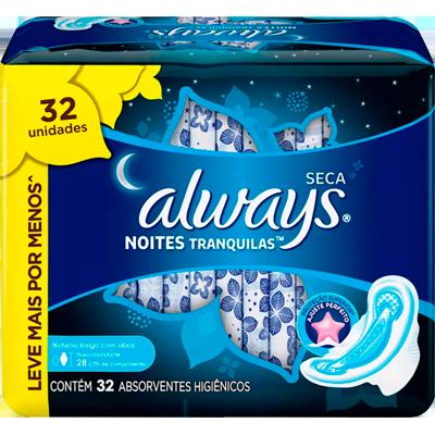 Absorvente noturno com abas cobertura seca 32 unidades Always Noites Tranquilas pacote PCT