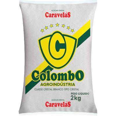 Açúcar cristal 2kg Colombo pacote PCT