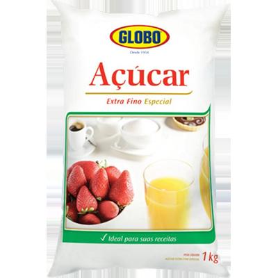 Açúcar extra fino pacote 1kg Globo PCT