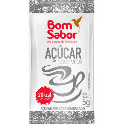 Açúcar refinado unidades de 5/6g Bom Sabor em sachês UN