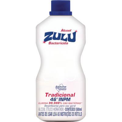 Álcool líquido 46° 500ml Zulu frasco FR