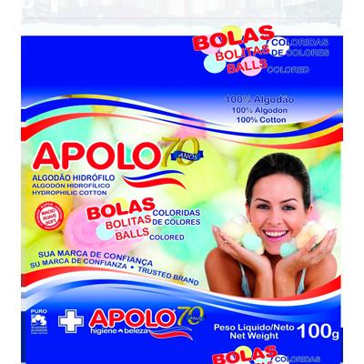 Algodão bola colorida 100g Apolo pacote PCT