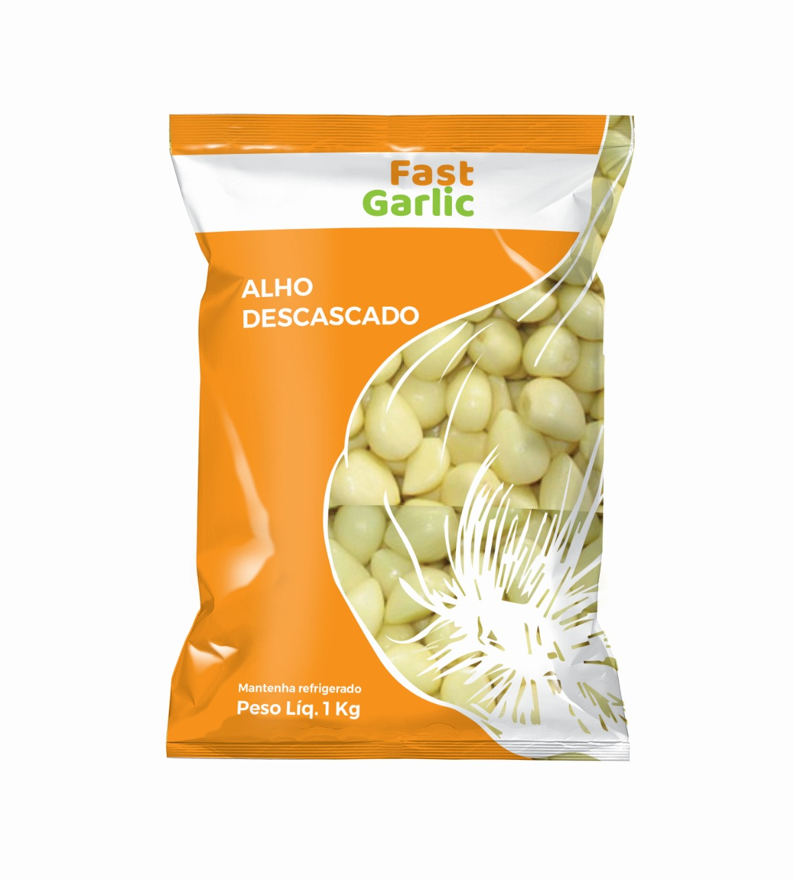 Alho descascado  pacote de 1kg Garlic por Kg KG