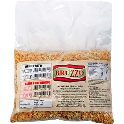 Alho frito em flocos finos por Kg pacote de 1kg Bruzzo KG