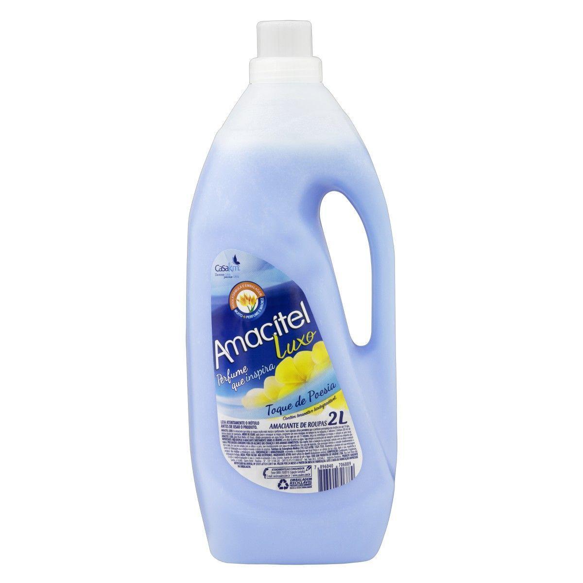 Amaciante de roupas toque de poesia azul 2Litros Amacitel frasco FR