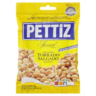 Amendoim sem pele torrado e salgado 150g Dori/Pettiz pacote PCT