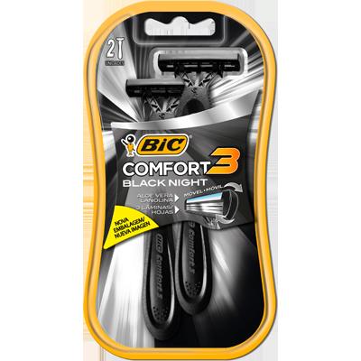 Aparelho de Barbear com 3 lâminas 2 unidades Bic Comfort 3 Black Night embalagem UN