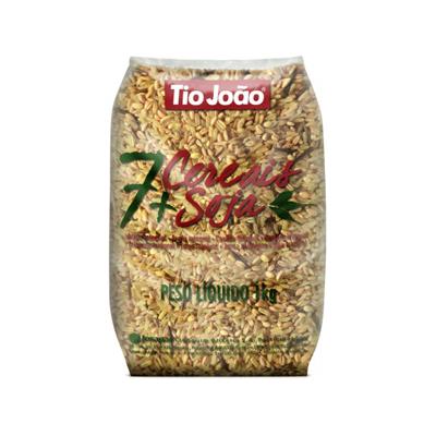 Arroz integral 7 cereais e soja 1kg Tio João pacote PCT