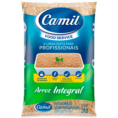 Arroz integral tipo 1 2kg Camil Food Service pacote PCT