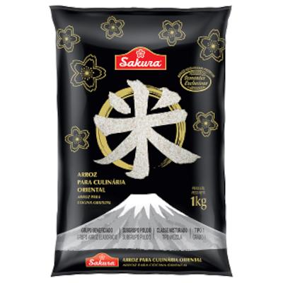 Arroz Japonês grão curto 1kg Sakura pacote PCT