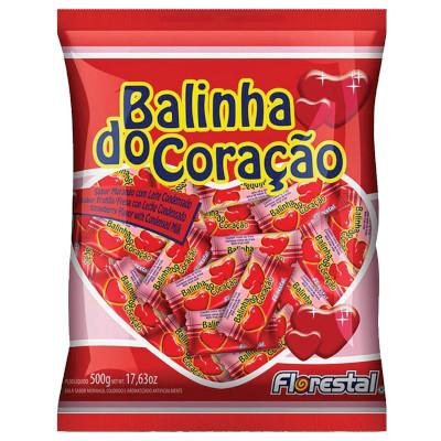 Bala balinha Coração sabor Morango 500g Florestal pacote PCT