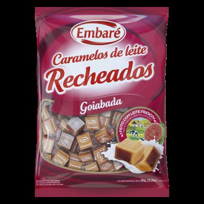 Bala caramelo recheadas goiaba 660g Embaré/Caramelos de Leite pacote PCT