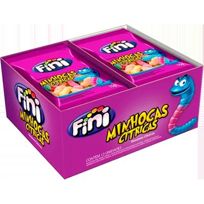 Bala de gelatina cítrica 12 unidades de 15g Fini/Minhocas caixa CX