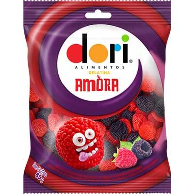 Bala de gelatina sabor amora pacote 85g Dori PCT