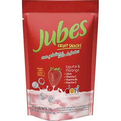 Bala de gelatina sabor iogurte e morango 100g Jubes/Dori pacote PCT