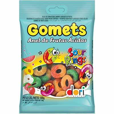 Bala de goma anel de frutas ácidas 100g Gomets/Dori pacote PCT