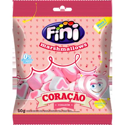 Bala de marshmallow 12 unidades de 60g Fini/Coração caixa CX