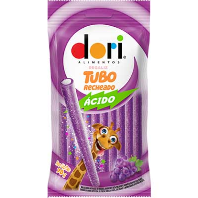 Bala de regaliz sabor uva tubo recheado ácido 70g Dori pacote PCT