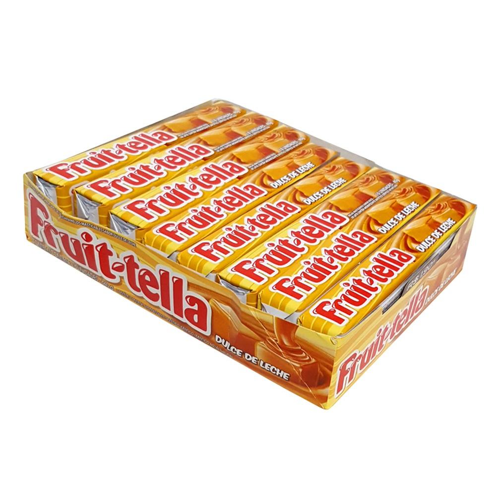 Bala mastigável sabor caramelo com leite condensado 15 unidades Fruit-tella caixa CX
