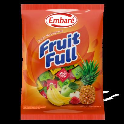 Bala mastigável sabor sortidos 660g Embaré/Fruit Full pacote PCT