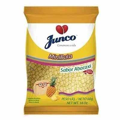 Bala sabor abacaxi mini 60g Junco pacote PCT