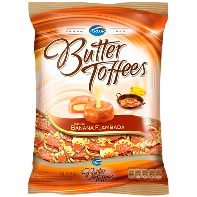 Bala sabor banana flambada 600g Arcor/Butter Toffees pacote PCT