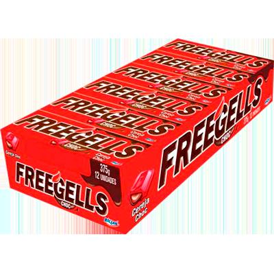 Bala sabor chocolate com cereja 12 unidades Freegells caixa CX