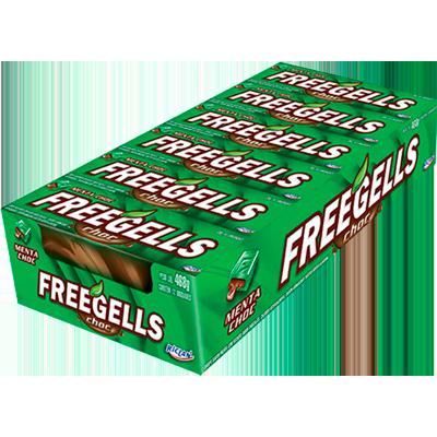 Bala sabor chocolate com menta caixa 12 unidades Freegells CX