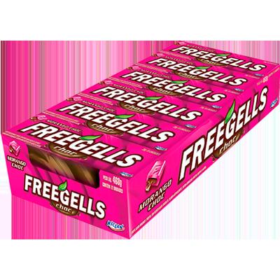 Bala sabor chocolate com morango 12 unidades Freegells caixa CX