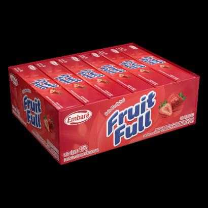Bala sabor morango 12 unidades Embaré/Fruit Full caixa CX