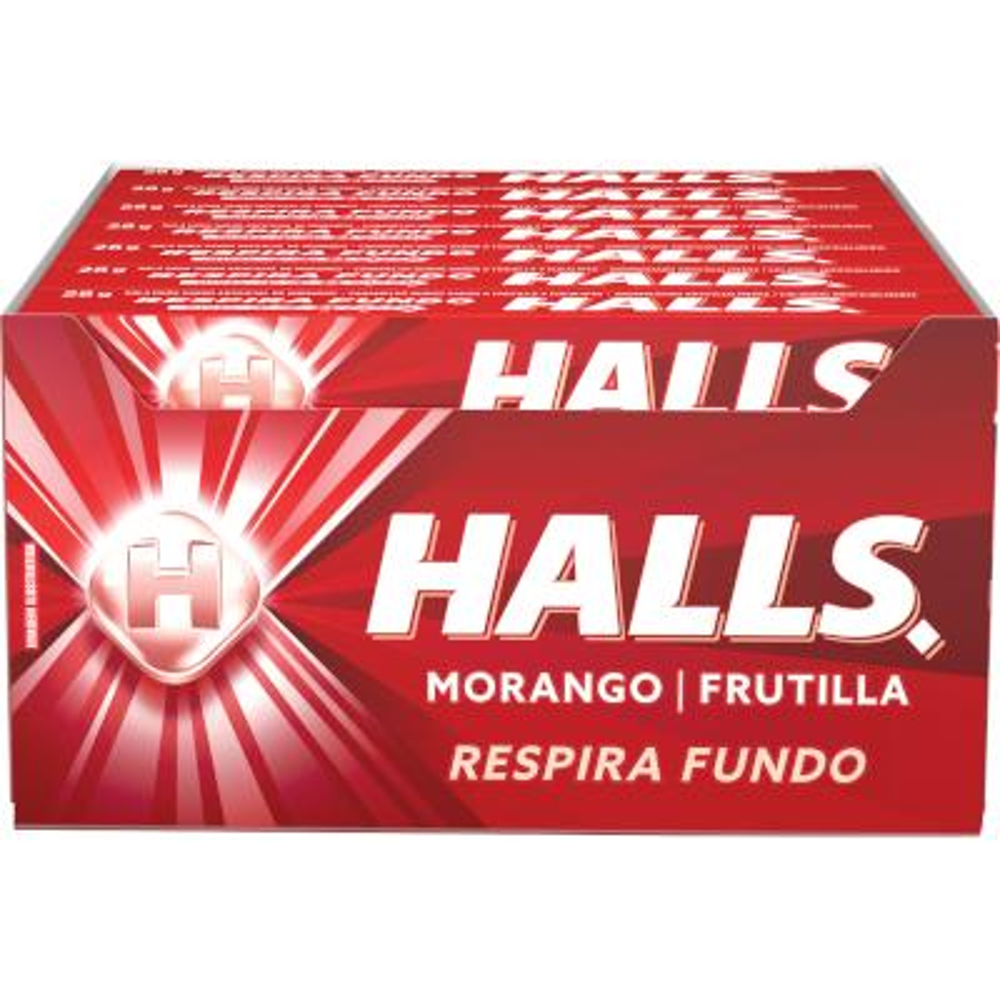 Bala sabor morango 21 unidades Halls caixa CX