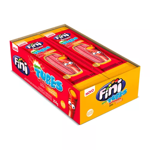 Bala sabor morango com laranja 12 unidades de 17g Fini/Tubes caixa CX