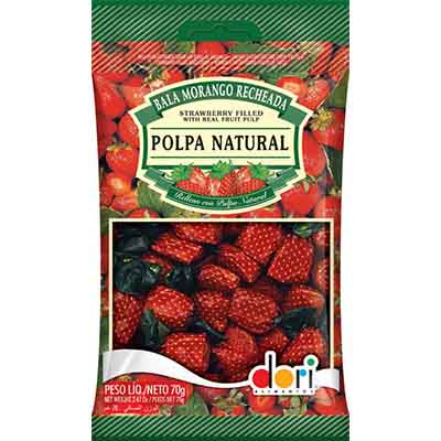Bala sabor morango recheada 70g Dori pacote PCT