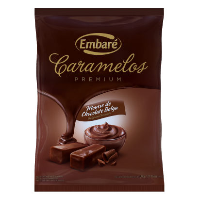 Bala sabor mousse chocolate belga pacote 600g Embaré/ Caramelos Premium PCT