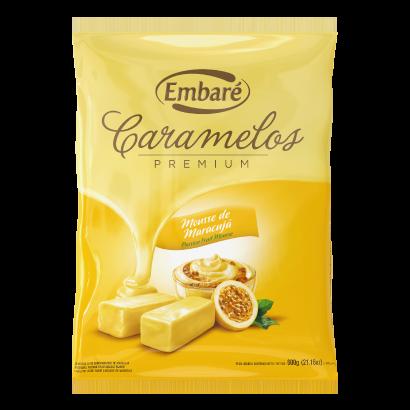 Bala sabor mousse de maracujá 600g Embaré/ Caramelos Premium pacote PCT