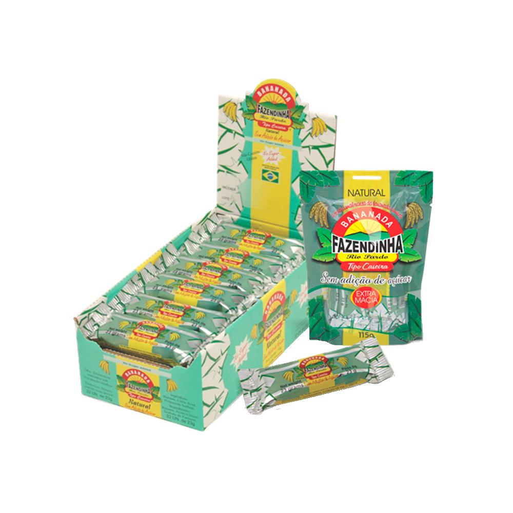 Bananinha sem açúcar caixa 32 unidades de 23g Fazendinha/Nutrivita CX