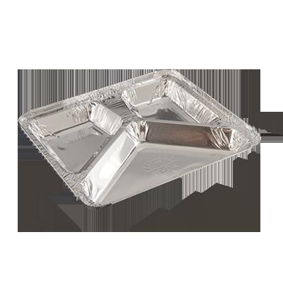 Bandeja de alumínio 900ml com 3 divisórias caixa 100 unidades Wyda CX